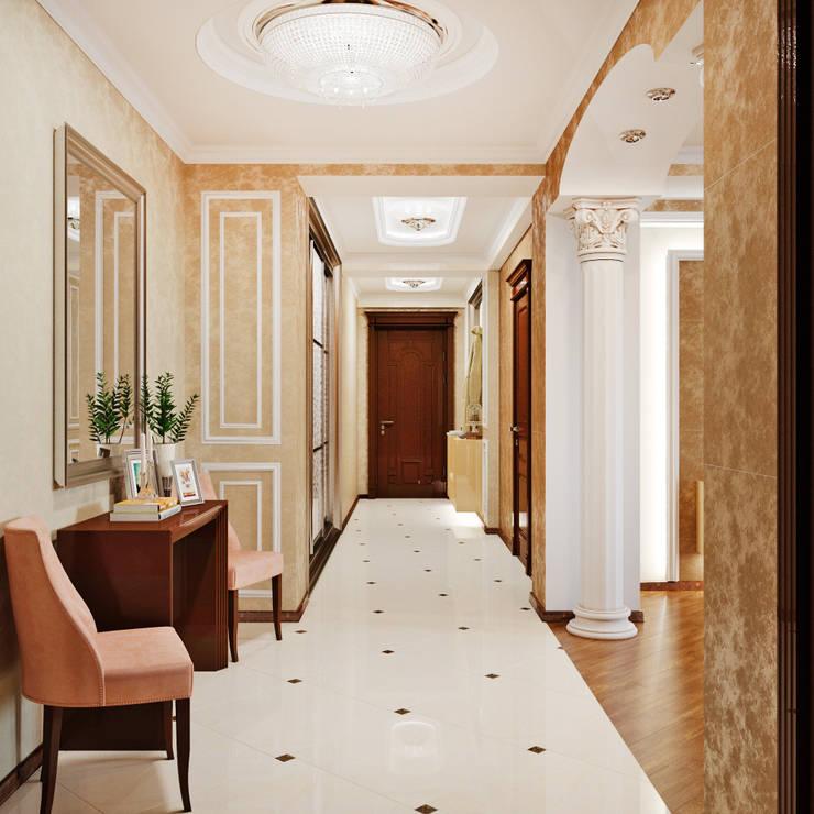 Элегантный интерьер для прихожей и гостиной: Коридор и прихожая в . Автор – Студия дизайна Interior Design IDEAS,