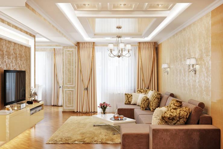 Элегантный интерьер для прихожей и гостиной: Гостиная в . Автор – Студия дизайна Interior Design IDEAS,