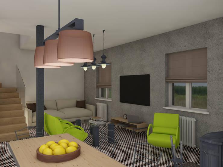 Лимонный лофт Гостиная в стиле лофт от Студия Интерьерных Решений Десапт Лофт