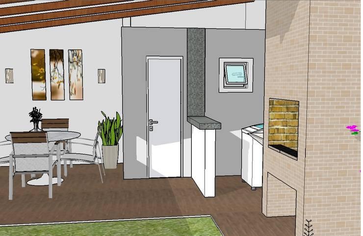 Lavabo e lavanderia: Garagens e edículas  por Graziela Alessio Arquitetura,