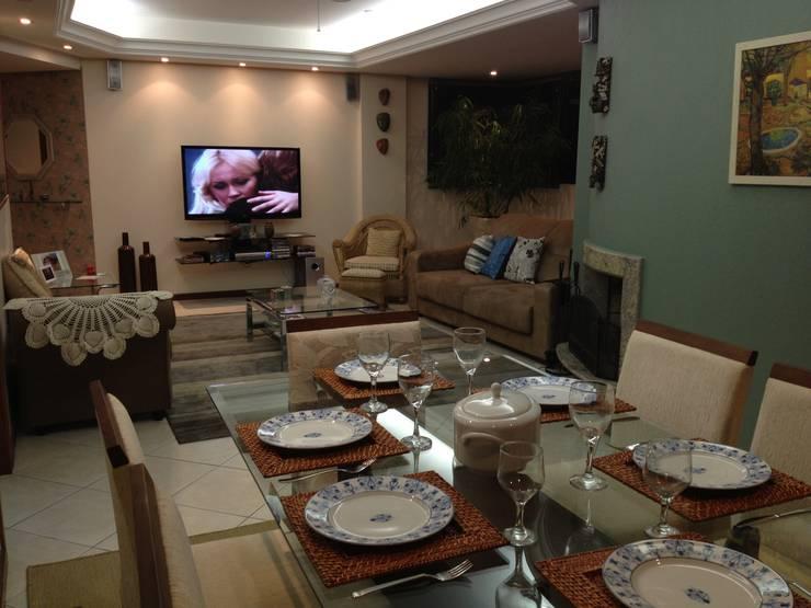 Jantar e Estar: Salas de estar  por Graziela Alessio Arquitetura,