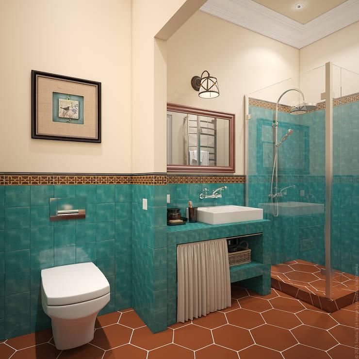 """Ванная. """"Подмосковное кантри"""": Ванные комнаты в . Автор – «Студия 3.14»,"""