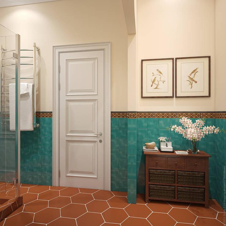 """Ванная. """"Подмосковное кантри"""": Ванные комнаты в . Автор – «Студия 3.14»"""
