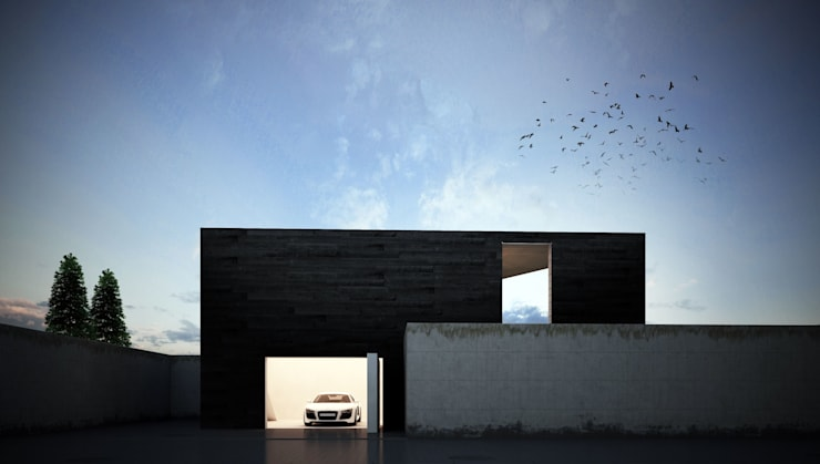 Garage/Rimessa in stile in stile Minimalista di Way-Project Architecture & Design
