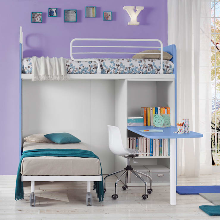 'Genio I' bunk bed with writing desk by Corazzin:  Nursery/kid's room by My Italian Living
