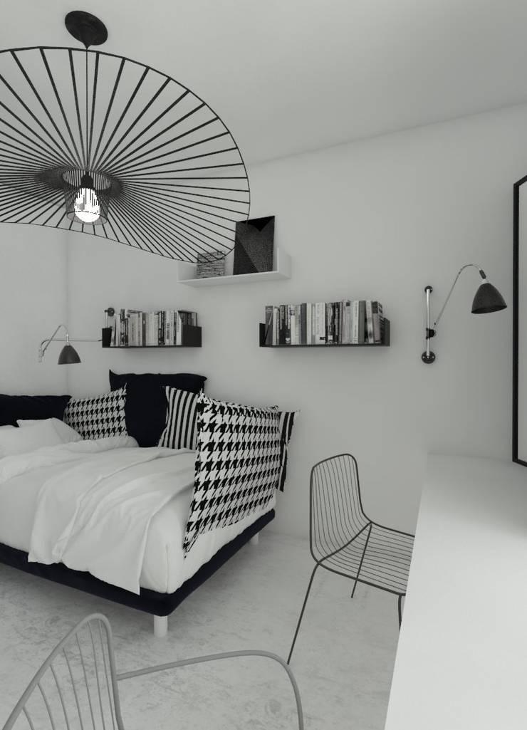 Sypialnia młodej elegantki. : styl , w kategorii Sypialnia zaprojektowany przez Sic! Zuzanna Dziurawiec,Nowoczesny Beton