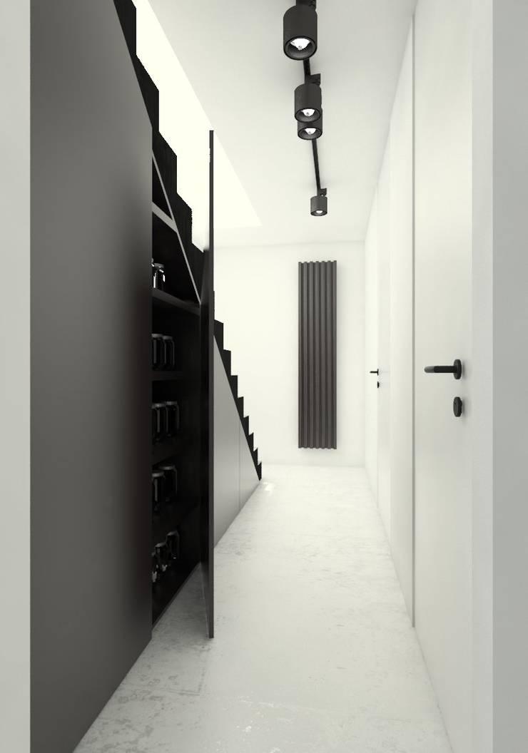Część techniczna: styl , w kategorii Korytarz, przedpokój zaprojektowany przez Sic! Zuzanna Dziurawiec,Nowoczesny Beton