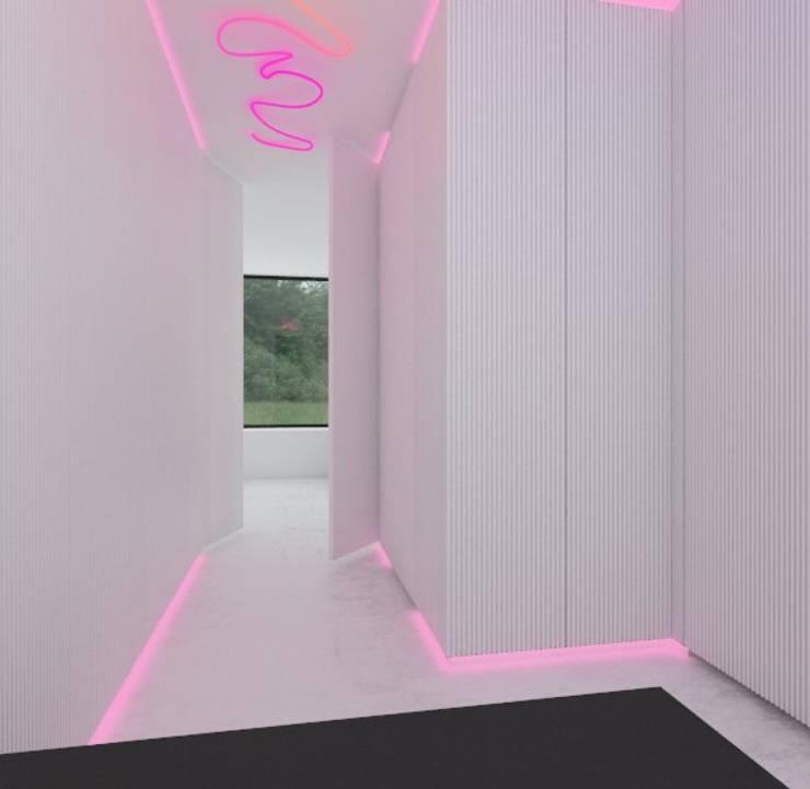 Hall z neonem: styl , w kategorii Korytarz, przedpokój zaprojektowany przez Sic! Zuzanna Dziurawiec,Nowoczesny Beton