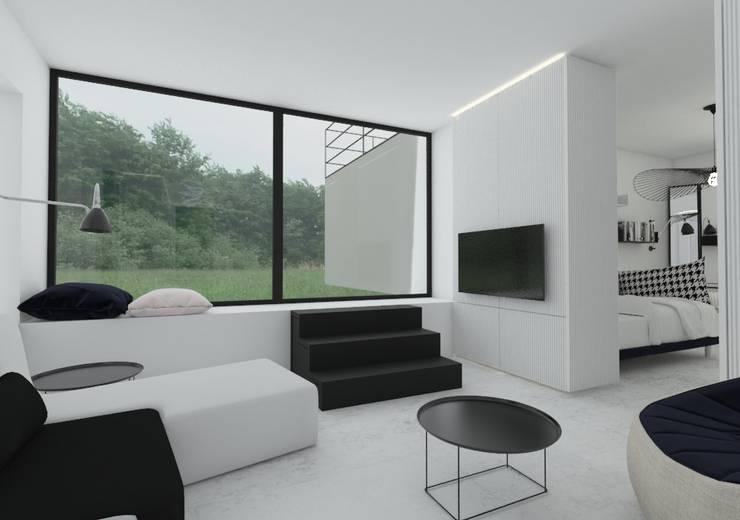salon: styl , w kategorii Salon zaprojektowany przez Sic! Zuzanna Dziurawiec,Nowoczesny Beton