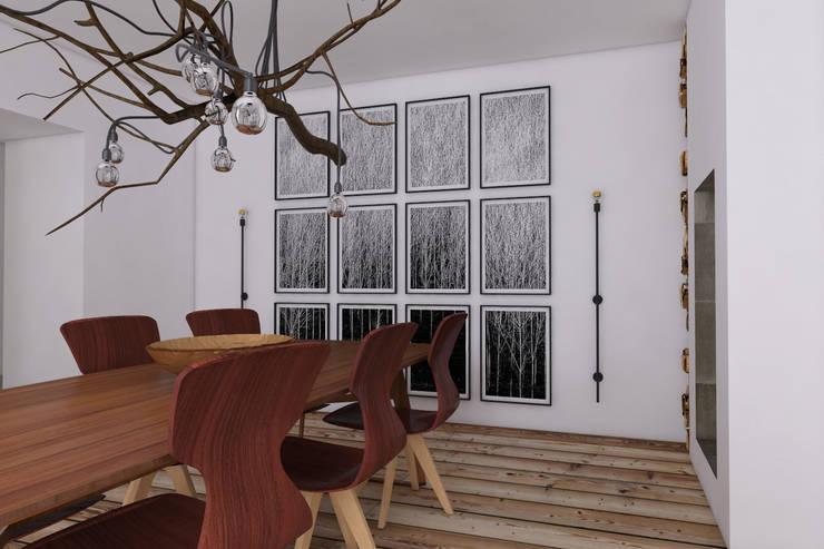 Dom w Konstancinie: styl , w kategorii Jadalnia zaprojektowany przez Sic! Zuzanna Dziurawiec,Eklektyczny Drewno O efekcie drewna