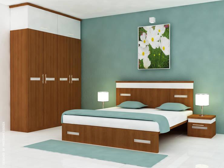 Bedroom Interiors - Kirthan residence:  Bedroom by Preetham  Interior Designer,Modern Plywood