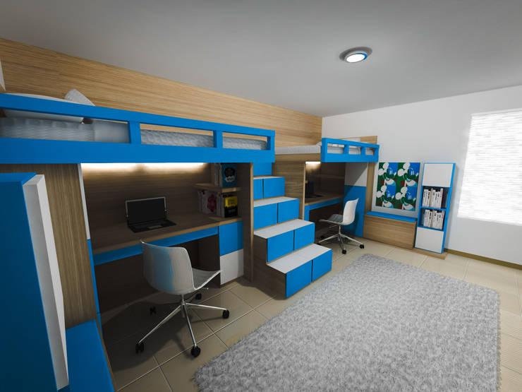 Habitación estudio niños : Habitaciones infantiles de estilo  por ID DISEÑO INDUSTRIAL DISEÑO INTERIOR, Moderno