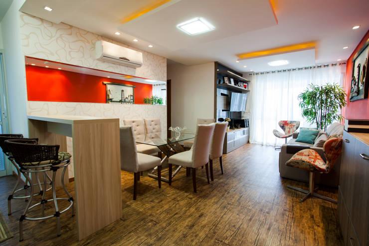 Sala de jantar e estar: Salas de jantar modernas por Janete Krueger Arquitetura e Design