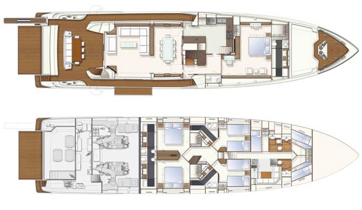 Yacht Custom Line 100: Casa  por Silvia Costa |  Arquitectura de Interiores