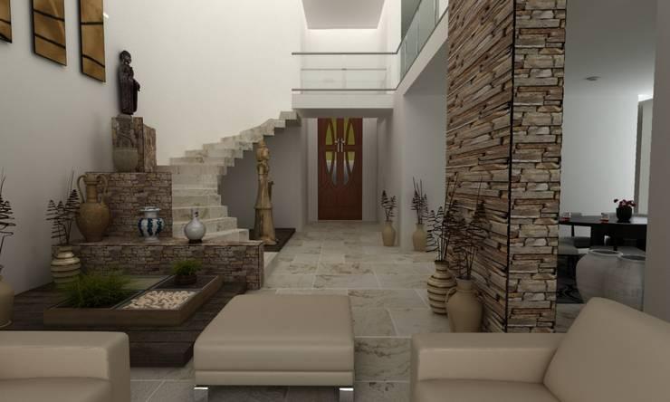 DISEÑANDO ESCALERAS: Pasillos y recibidores de estilo  por OLLIN ARQUITECTURA