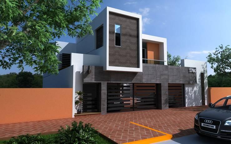 FACHADA PRINCIPAL: Casas de estilo moderno por OLLIN ARQUITECTURA