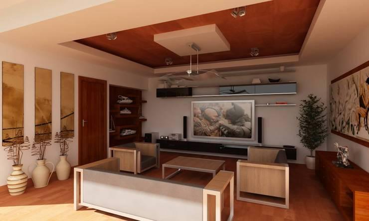 OLLIN ARQUITECTURA : modern tarz Multimedya Odası