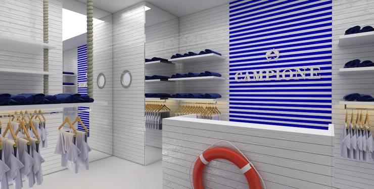 Projekt sklepu Campione na Mazurach: styl , w kategorii Powierzchnie handlowe zaprojektowany przez Sic! Zuzanna Dziurawiec