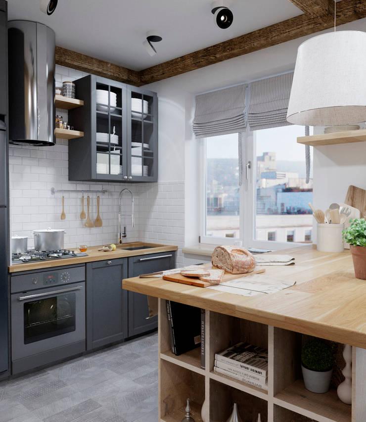 Cozinhas  por Elena Arsentyeva, Escandinavo Madeira Acabamento em madeira