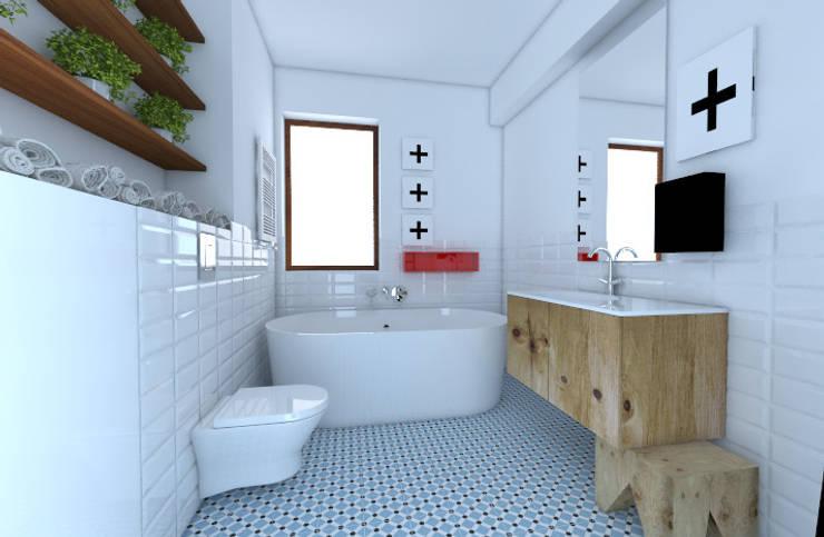Dwie łazienki : styl , w kategorii Łazienka zaprojektowany przez Sic! Zuzanna Dziurawiec,