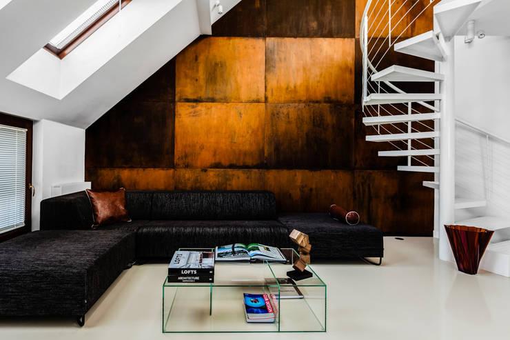 Our photoshoot of apartment design by Biderman Architects: styl , w kategorii Salon zaprojektowany przez Ayuko Studio