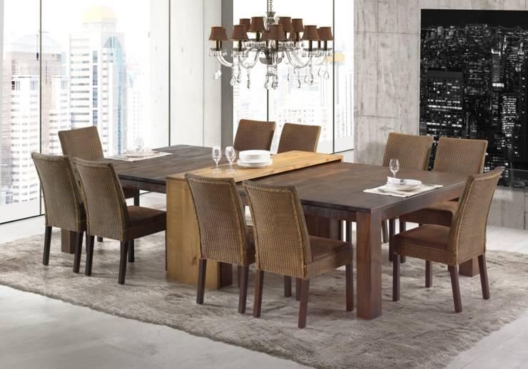 Mesa Flora | Aparador União | Cadeiras Ibiza: Sala de jantar  por Artefama Móveis