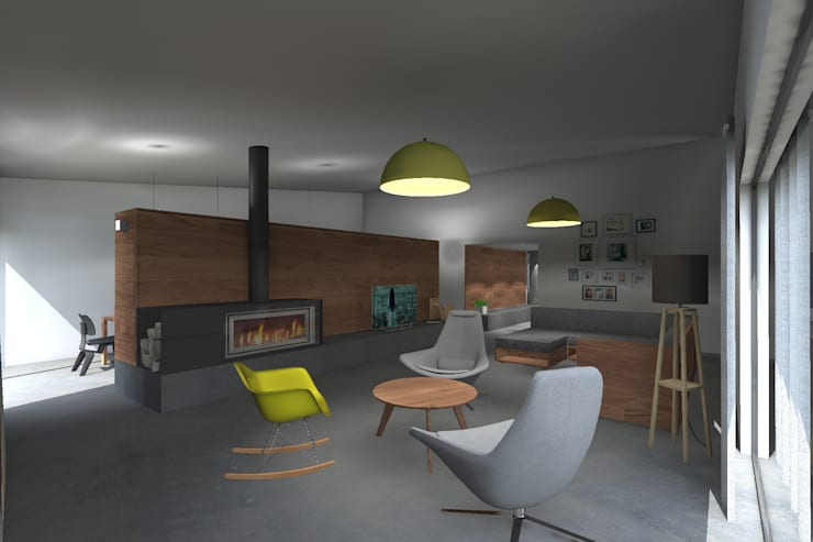 Casa AH: Salas de estar minimalistas por Colectivo de Melhoramentos