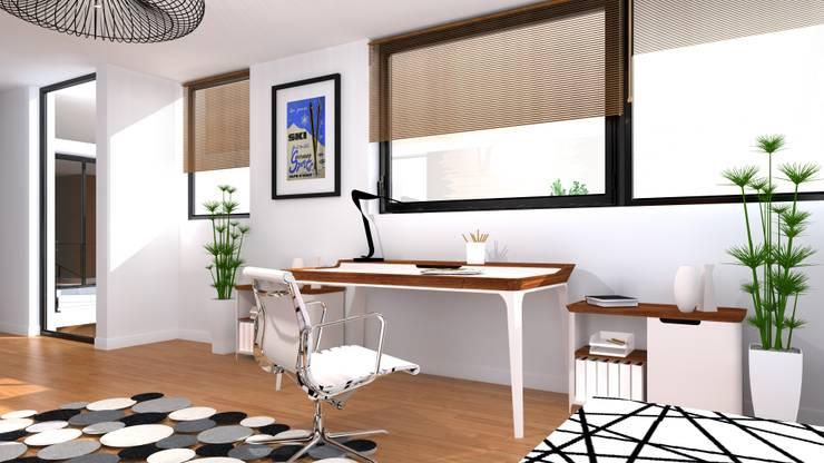 Gabinet - biurko do pracy wraz z podręczną szafką na dokumentację: styl , w kategorii Domowe biuro i gabinet zaprojektowany przez Przytulne Wnętrze,Nowoczesny Drewno O efekcie drewna