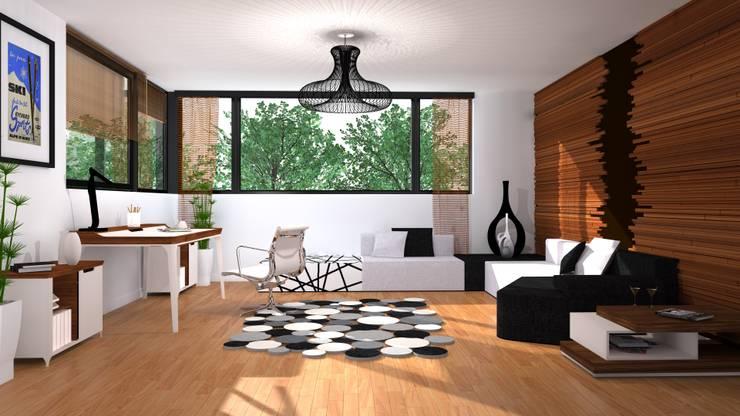 całe pomieszczenie: styl , w kategorii Domowe biuro i gabinet zaprojektowany przez Przytulne Wnętrze,Nowoczesny Drewno O efekcie drewna