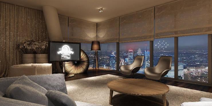 Apartament 26p: styl , w kategorii Salon zaprojektowany przez Katarzyna Kraszewska Architektura Wnętrz,Nowoczesny