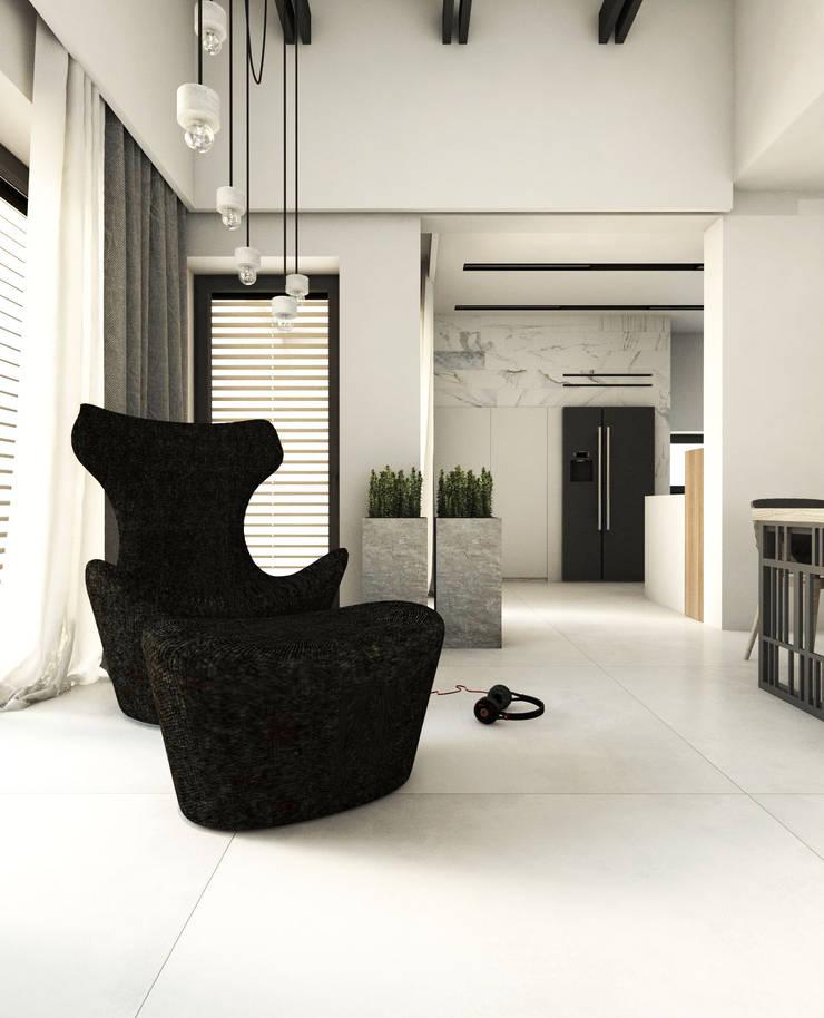 PROJEKT D15_15       KOSZALIN: styl , w kategorii Salon zaprojektowany przez A2.STUDIO PRACOWNIA ARCHITEKTURY,Nowoczesny