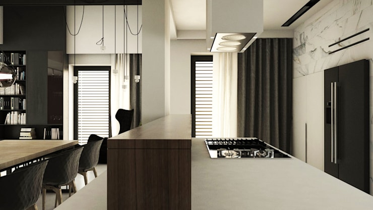 PROJEKT D15_15       KOSZALIN: styl , w kategorii Kuchnia zaprojektowany przez A2.STUDIO PRACOWNIA ARCHITEKTURY,Nowoczesny