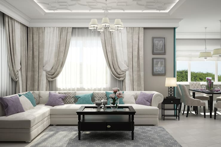 """Гостиная """"Sweet gray"""" Гостиная в классическом стиле от Студия дизайна Дарьи Одарюк Классический"""