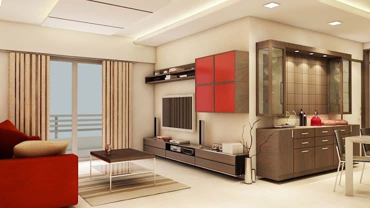 Apartment at Ajmera Infinity:  Living room by ACE INTERIORS