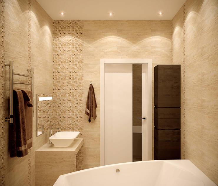 """Дизайн ванной в современном стиле в ЖК """"Солнечный"""" Ванная комната в стиле модерн от Студия интерьерного дизайна happy.design Модерн"""