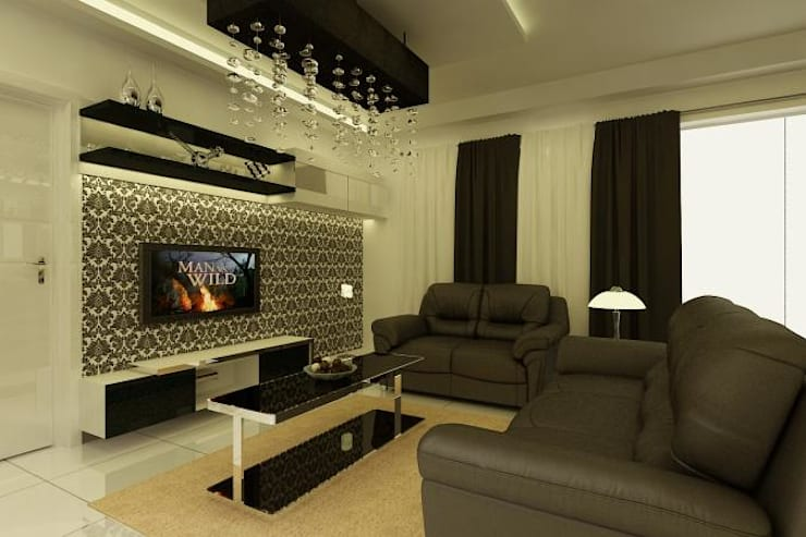 Project at Elita Promenade:  Living room by ACE INTERIORS