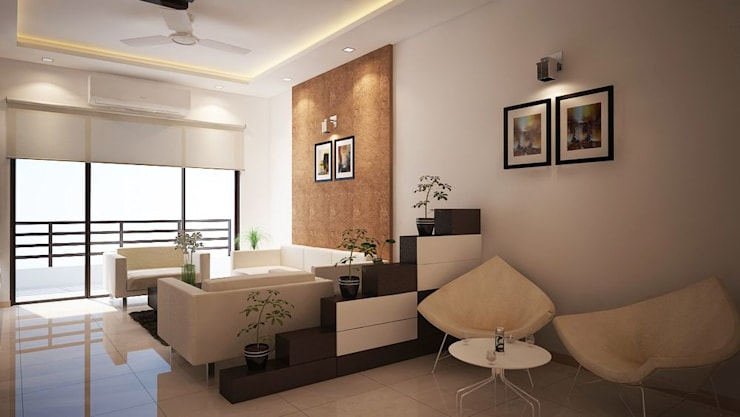 Apartment at Adarsh Palm Retreat:  Living room by ACE INTERIORS