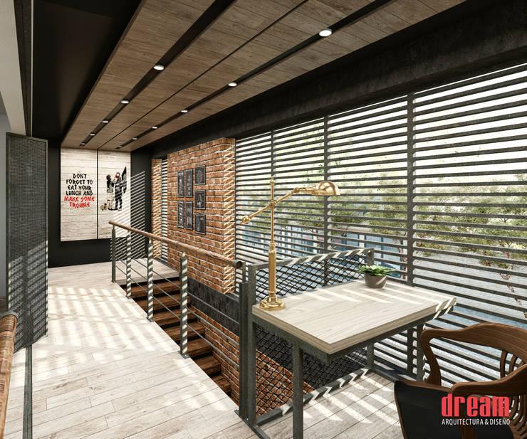 Vestíbulo planta alta.: Pasillos y recibidores de estilo  por Estudio Meraki