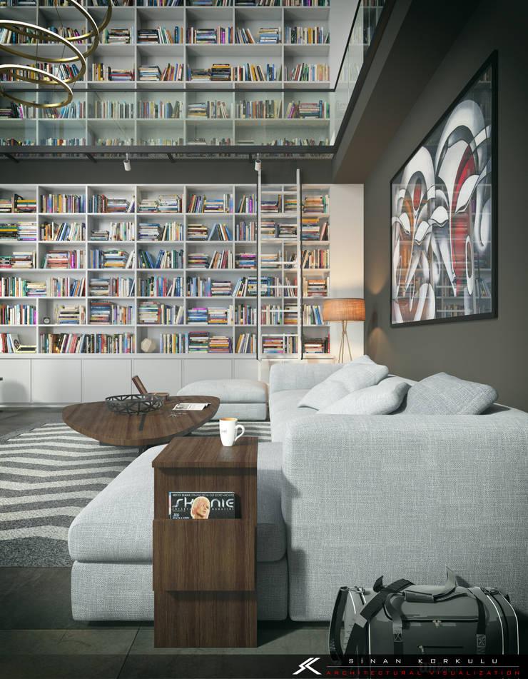 SK ARCHITECTURAL VISUALIZATION – LIVING ROOM AND LIBRARY: modern tarz Oturma Odası