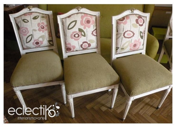 Cortinas y muebles reciclados: Livings de estilo  por giseldem