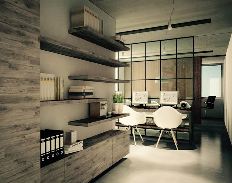 SIETE HABITOS OFICINAS: Oficinas y Tiendas de estilo  por HO ARQUITECTOS
