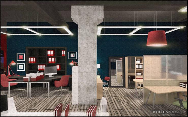 Шоурум магазина офисной мебели ЮНИТЕКС Офисы и магазины в стиле лофт от TUR4ENKONATALY design space Лофт