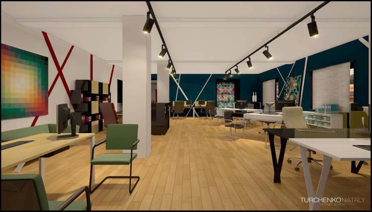 Шоурум магазина офисной мебели ЮНИТЕКС на Шоссе Энтузиастов Офисы и магазины в стиле модерн от TUR4ENKONATALY design space Модерн
