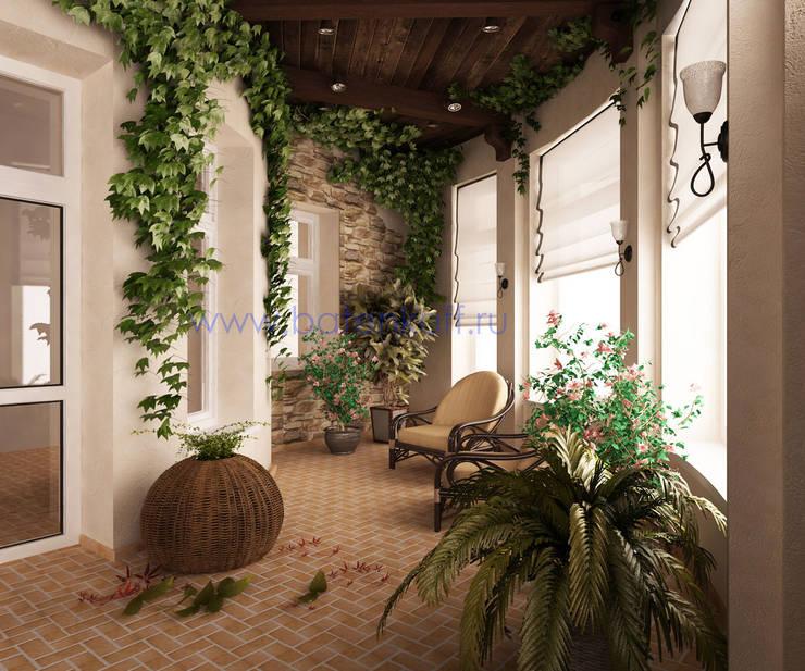 Jardins de inverno campestres por Дизайн студия 'Дизайнер интерьера № 1'