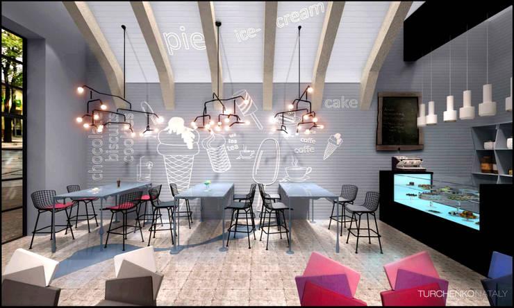 Дизайн кондитерской BLUE CAFE Бары и клубы в стиле лофт от TUR4ENKONATALY design space Лофт