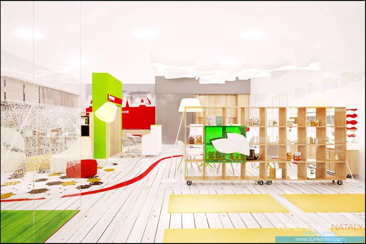 Дизай офиса косметической компании AMWAY Офисные помещения в скандинавском стиле от TUR4ENKONATALY design space Скандинавский