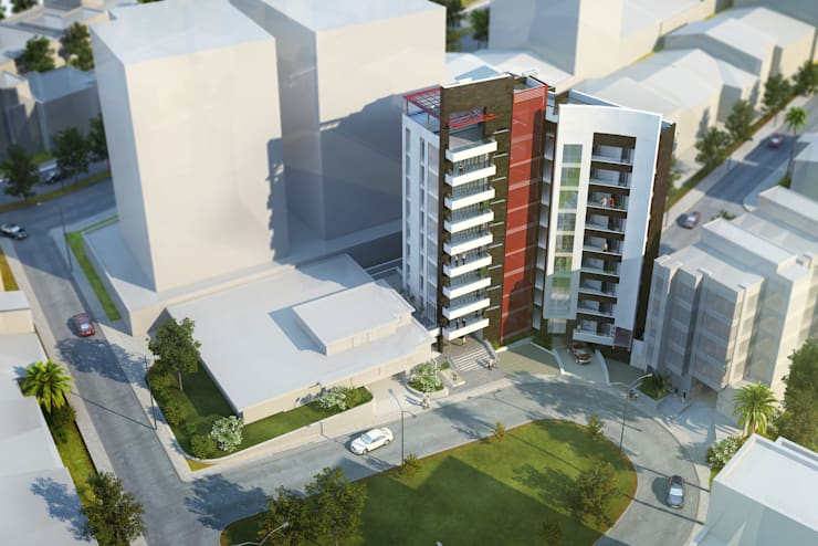 Cámara Aérea del proyecto: Casas de estilo  por MIES GROUP