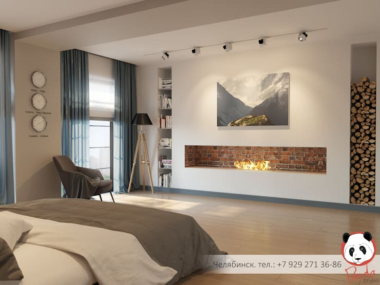 Modern bedroom with fireplace:  Bedroom by Panda Studio