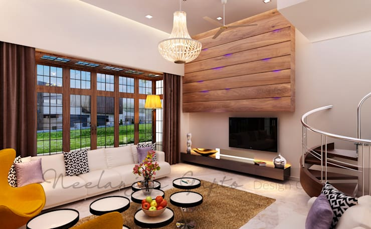 modern Living room تنفيذ Neelanjan Gupto Design Co