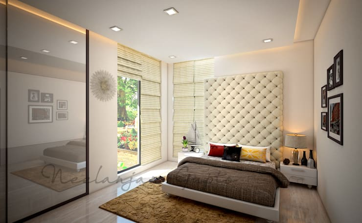 Nisar's bungalow:  Bedroom by Neelanjan Gupto Design Co